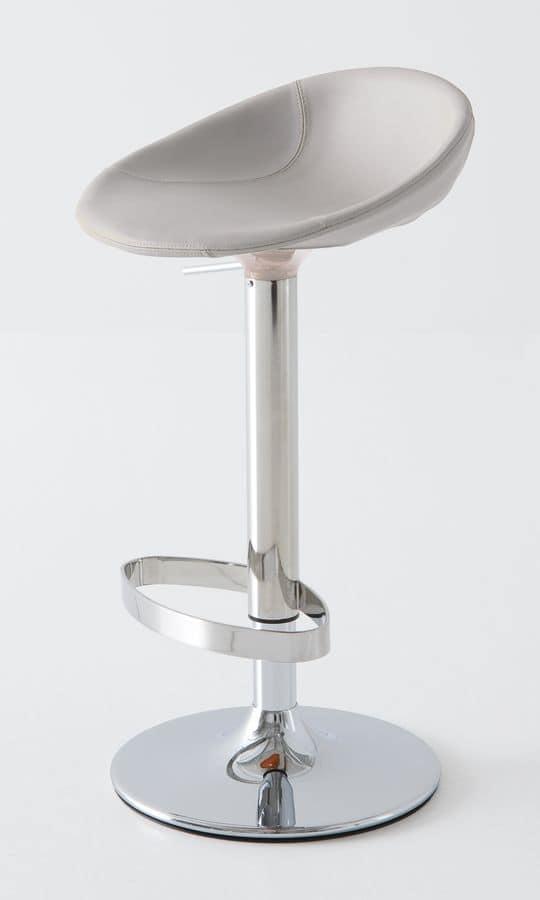 Moema Stool Pelle, Barastool in chromed metal, leather-covered seat