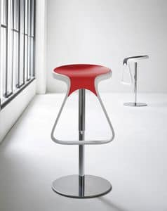 Octo cod. 146/A, Minimal barstool with footrest, chromed metal base