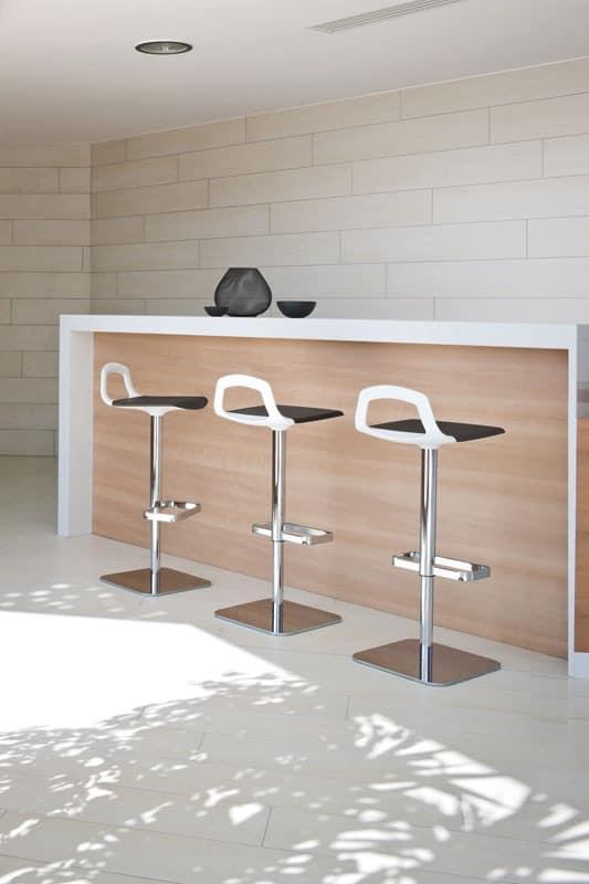 Pop, Design barstool, metal base, back-handle