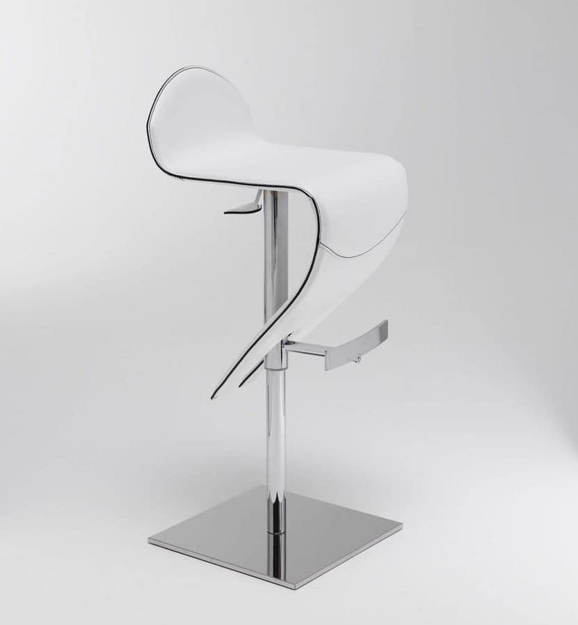 Ricky barstool, Swivel stool, leather upholstery, gas lift height adjustment