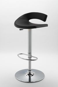 Torino, Adjustable barstool, in leather, rounded line