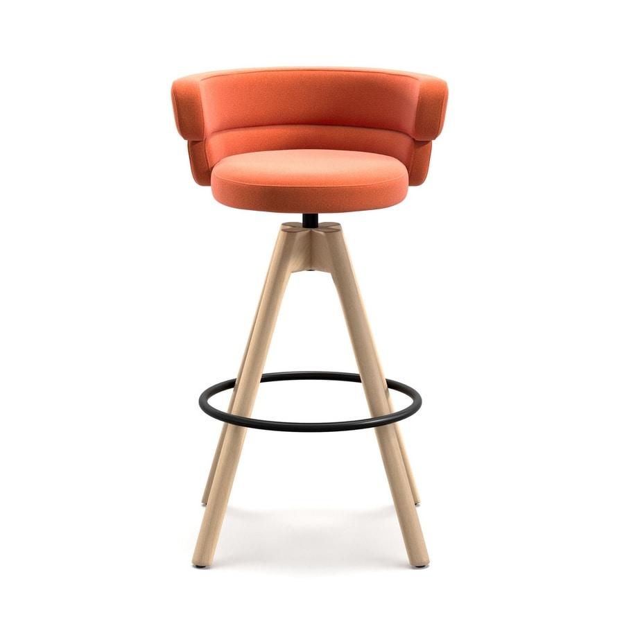 Dam ST 4WL, Swivel stool with ash wood base