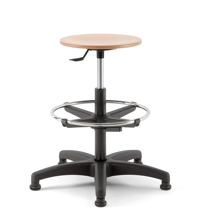 Mea Wood 03, Stool with round seat, swivel