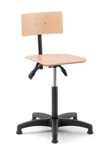 Rumba 02, Swivel stool with wooden seat and back
