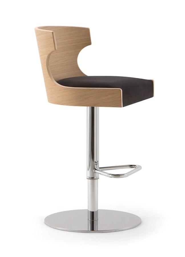 XIE BAR STOOL 052 SG F, Swivel stool with round base