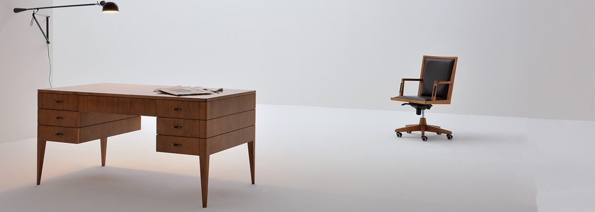 Flaminia 5051, Double-sided desk in cherry wood