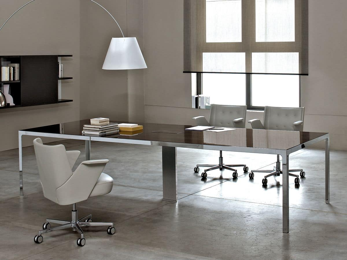 Meeting room table wooden top metal structure idfdesign for Design ufficio srl