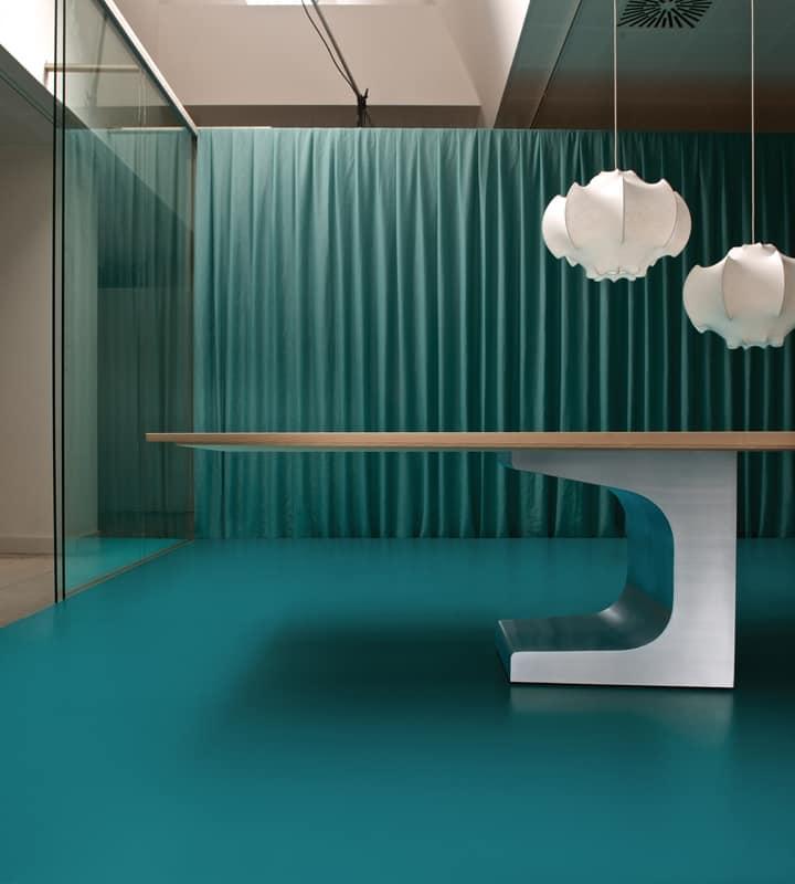 Big Table For Meeting Room Metal Base Wooden Top Idfdesign