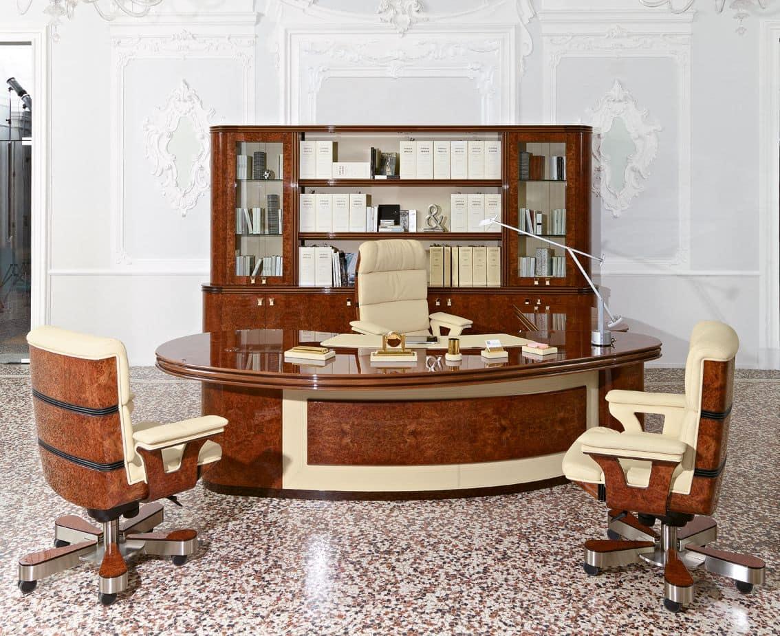 Presidential rounded desk in classic contemporary style for Arredo ufficio presidenziale