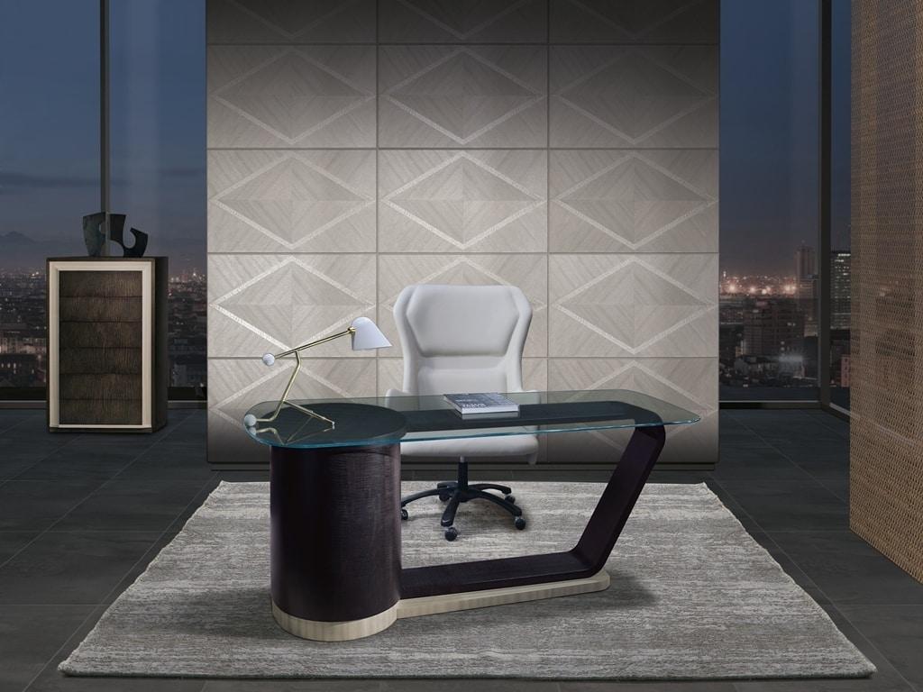 SC32 Century desk, Elegant desk with glass top