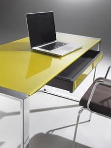 Desk, Desk with steel structure, glass top