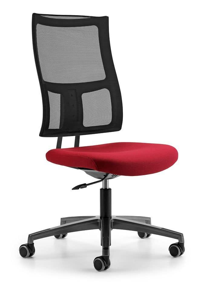 ALLYNET 1740, Chair with mesh backrest, 5-spoke wheels