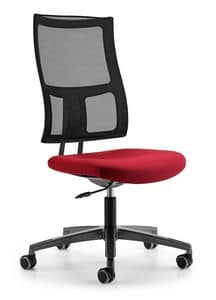 ALLYNET 1740, Chair with mesh backrest, 5-spoke wheels