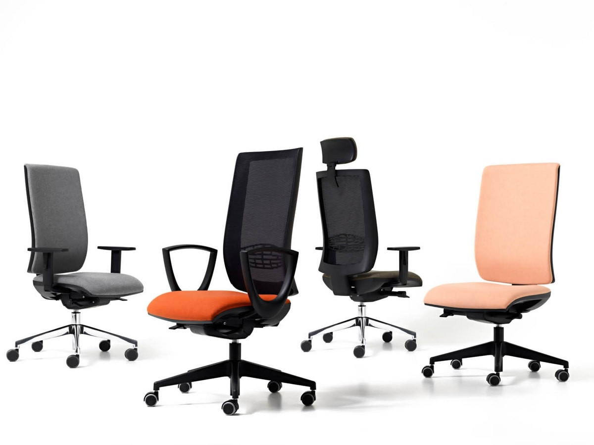 Goal mesh, Chair with net backrest for office, in various colors