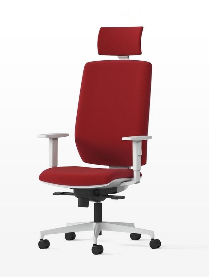 MIRAI WHITE, Office chair with headrest