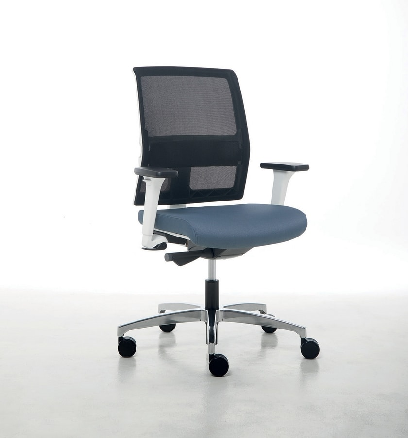 Omnia White 01, Office chair with white structure