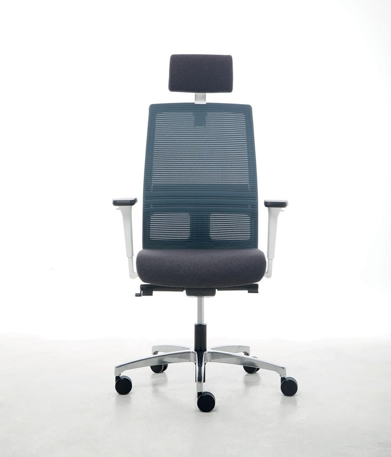 Omnia White Plus 01 PT, Elegant office chair with headrest
