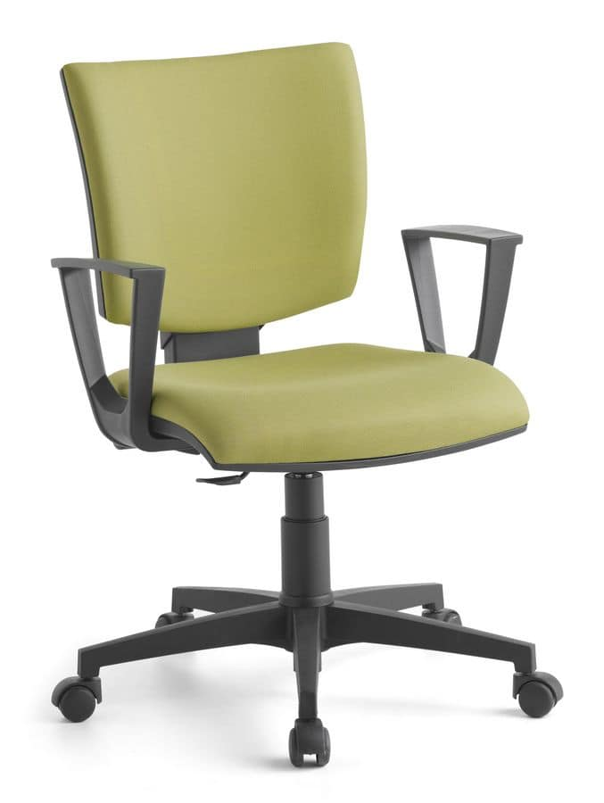 Pole 02 CP, Operating upholstered chair with armrests, for office