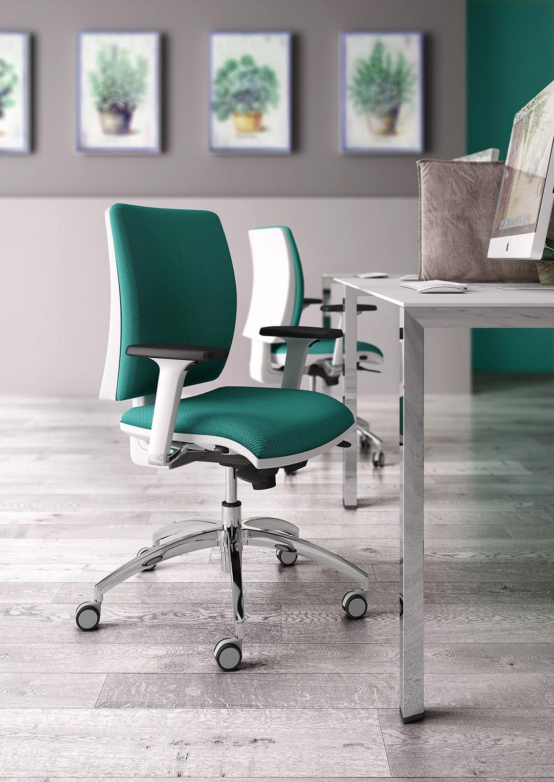 Sprint W, Elegant task office chair, with white finish