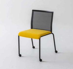Teckel R, Chair with wheels and backrest in mesh