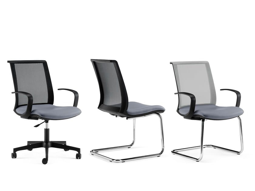 TECNA, Chair with mesh back, with adjustable armrests
