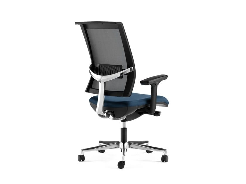 TECNA, Office chair with mesh back, headrest, aluminum support