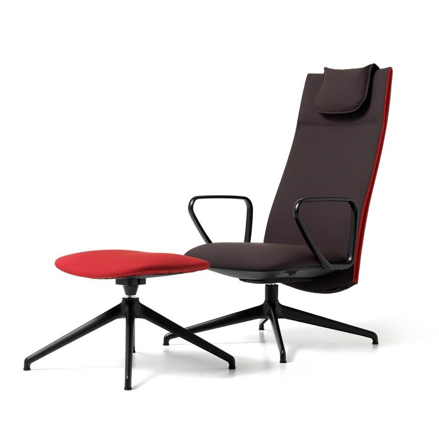 Velvet visitatore 4 razze, Upholstered office chair