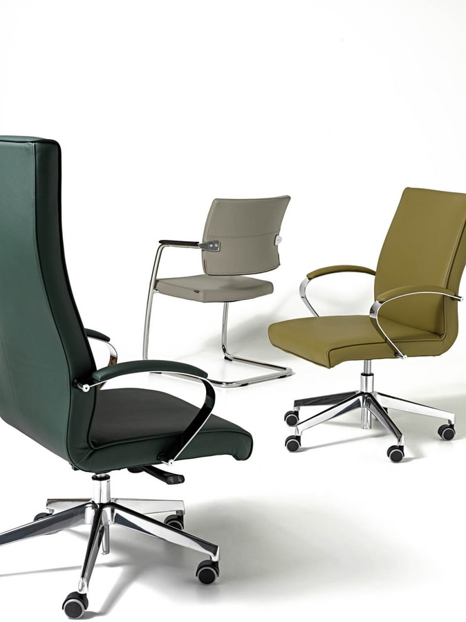 Venus chair, Visitor chair for customers, chrome frame, stackable