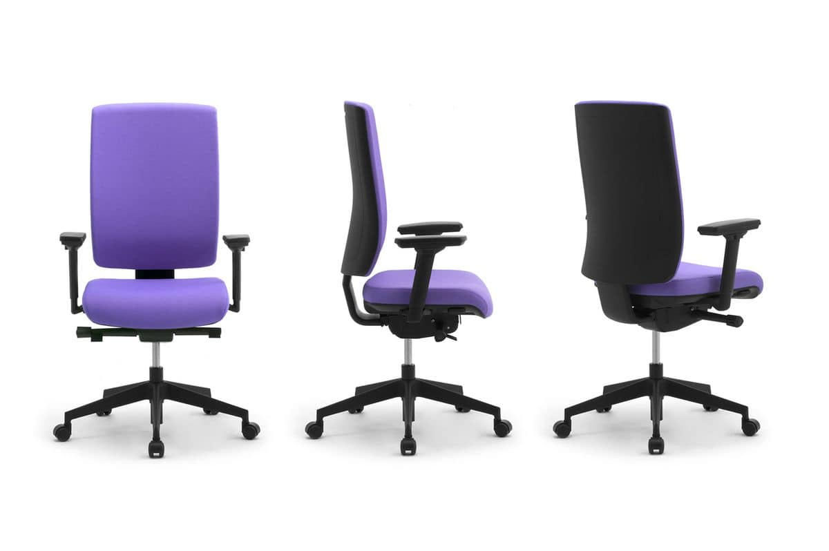 Wiki Upholstered , Operational office chair with armrests and headrests