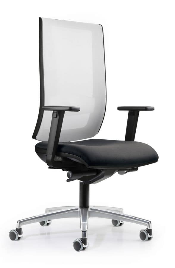 WIND 107, Operational office chair, mesh backrest, with wheels