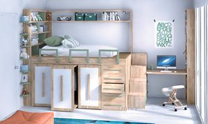 Impero-Young, Children's bed with space-saving furniture