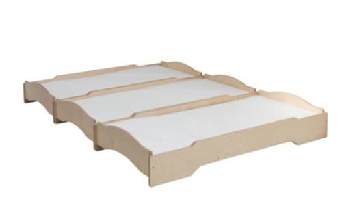 LE.SP.01, Stackable bed for asylum, in natural wood