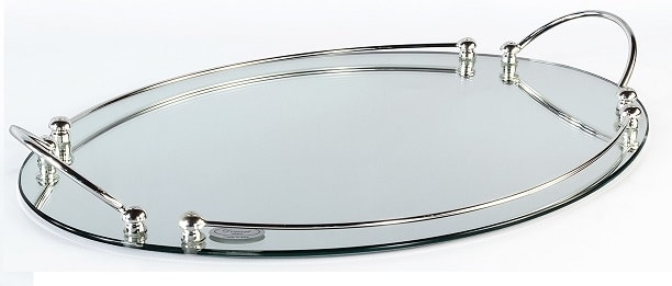 1736, Oval tray, in silver finish