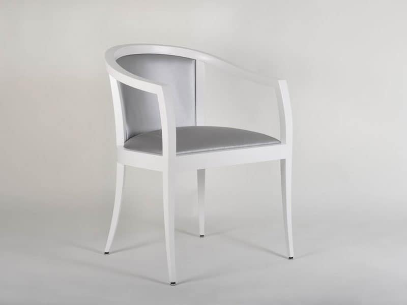 704, Overstuffed chair with curved armrests, for living room