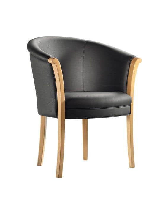 C41, Armchair in wooden frame, upholstered back and seat, leather covering, for contract use