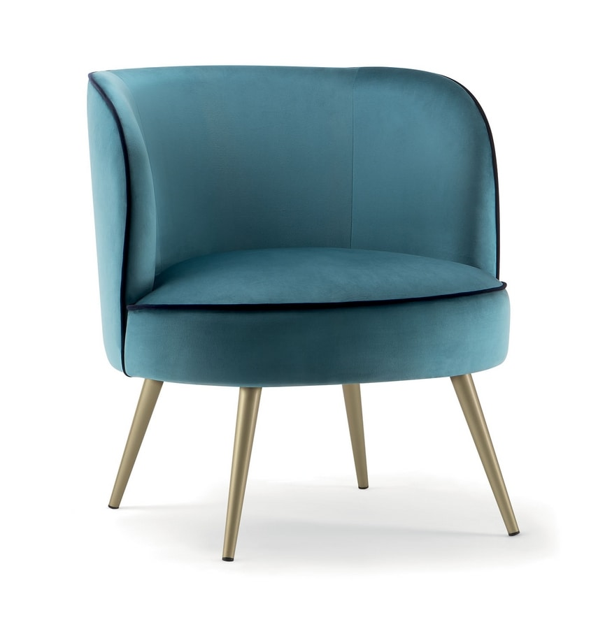 CANDY LOUNGE CHAIR 061 PL, Armchair with metal legs