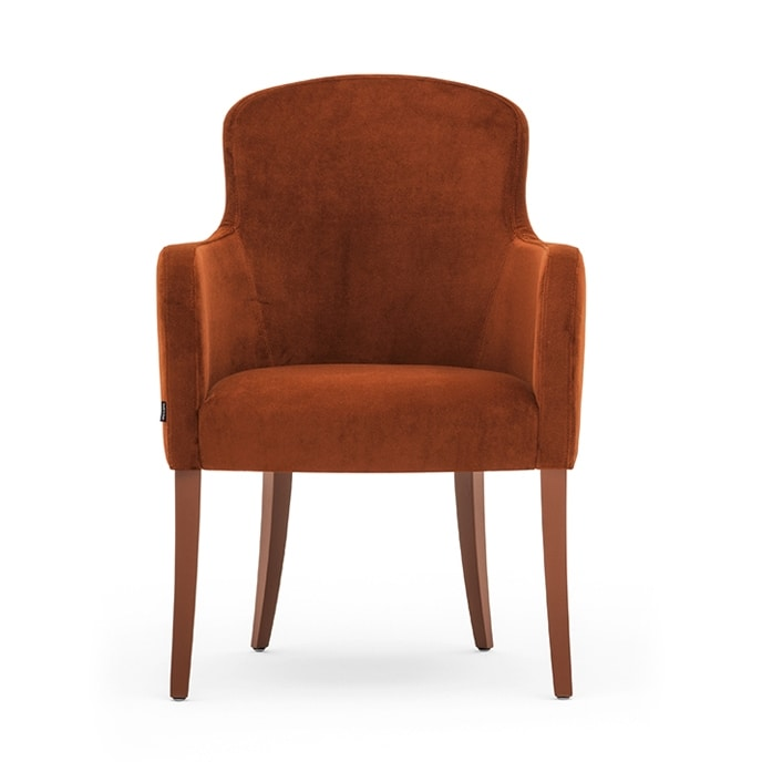 Euforia 00131, Tub armchair, solid wood, upholstered seat and back, fabric cover, modern style