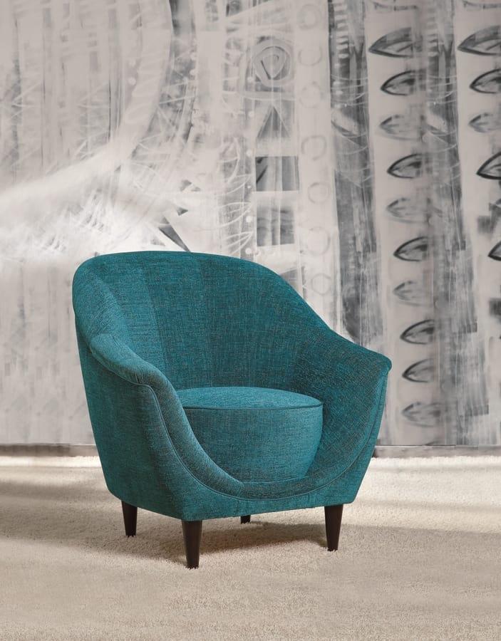 Frida, Elegant armchair with wooden legs