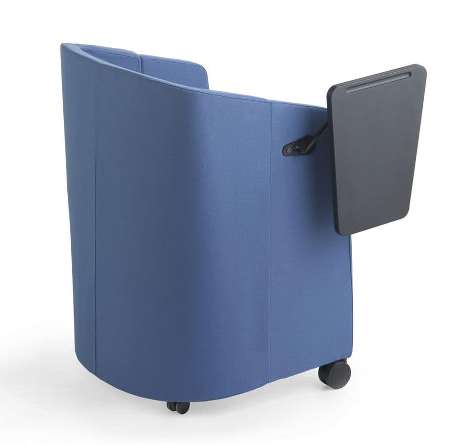 Meet, Folding tub armchair with wheels, for conference