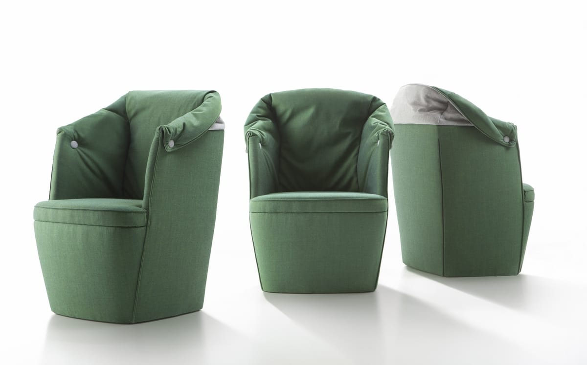 Small bucket armchair in leather or fabric | IDFdesign