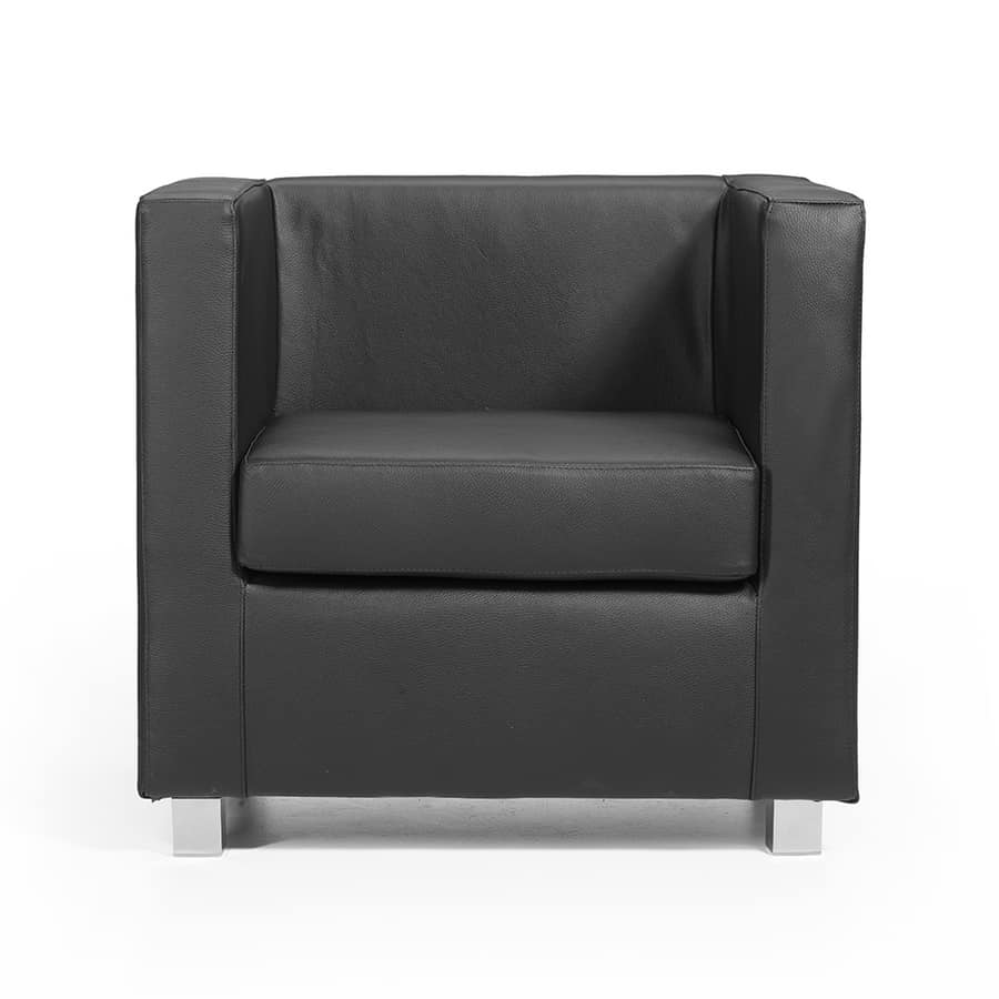 Quadra PL, Armchair in leather-covered wood, customizable