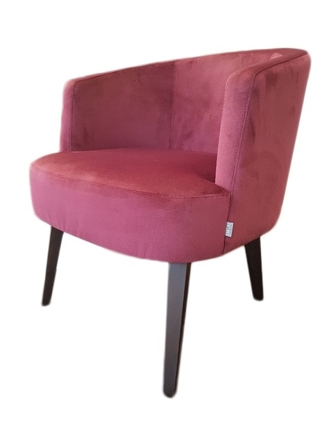 VIENNA LOUNGE WOOD, Armchair with rounded shapes