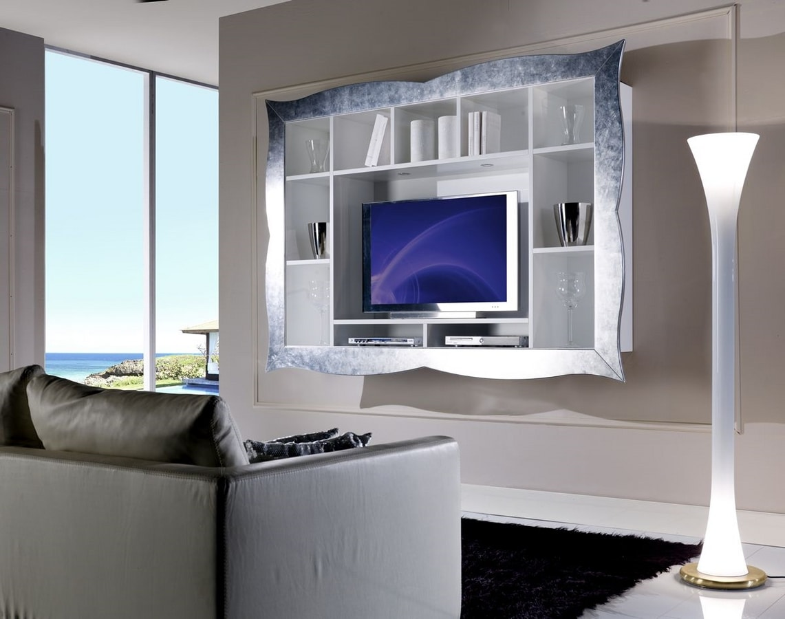 Allegra Living wall unit with frame, Hanging TV stand for living room