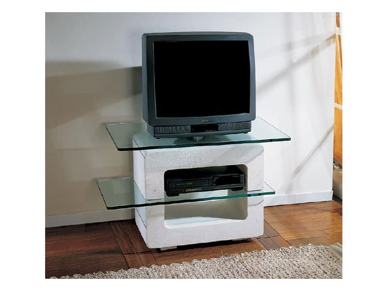 Aria Small Tv Unit Stand With Stone Structure And Gl Tops
