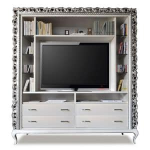 Art. 2410 Frida, Classic tv stand, 4 drawers and glass shelves