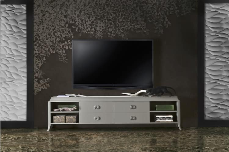 Art. VL143, TV stand base in lacquered wood, with drawers