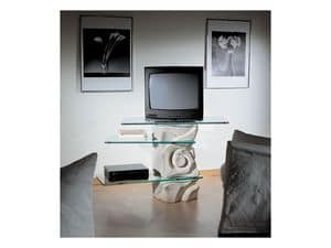 Corallo TV Unit, Swivel TV-stand, made of stone with glass shelves