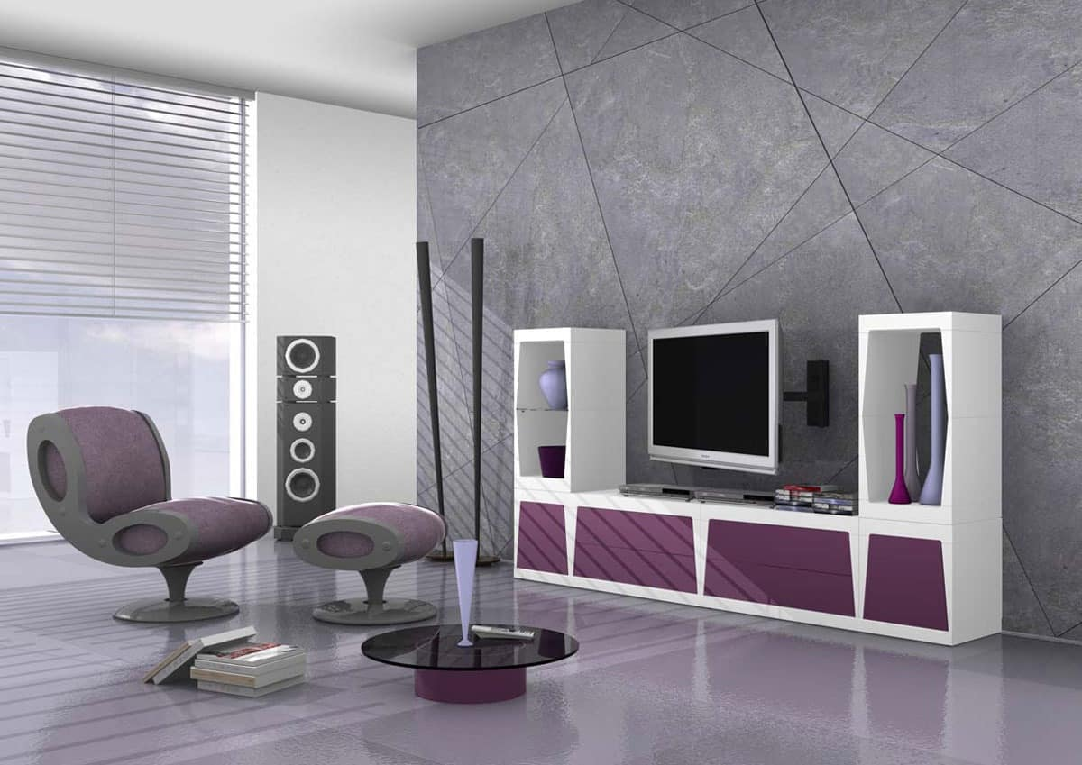 Cube, Modular tv stand in matt laminate
