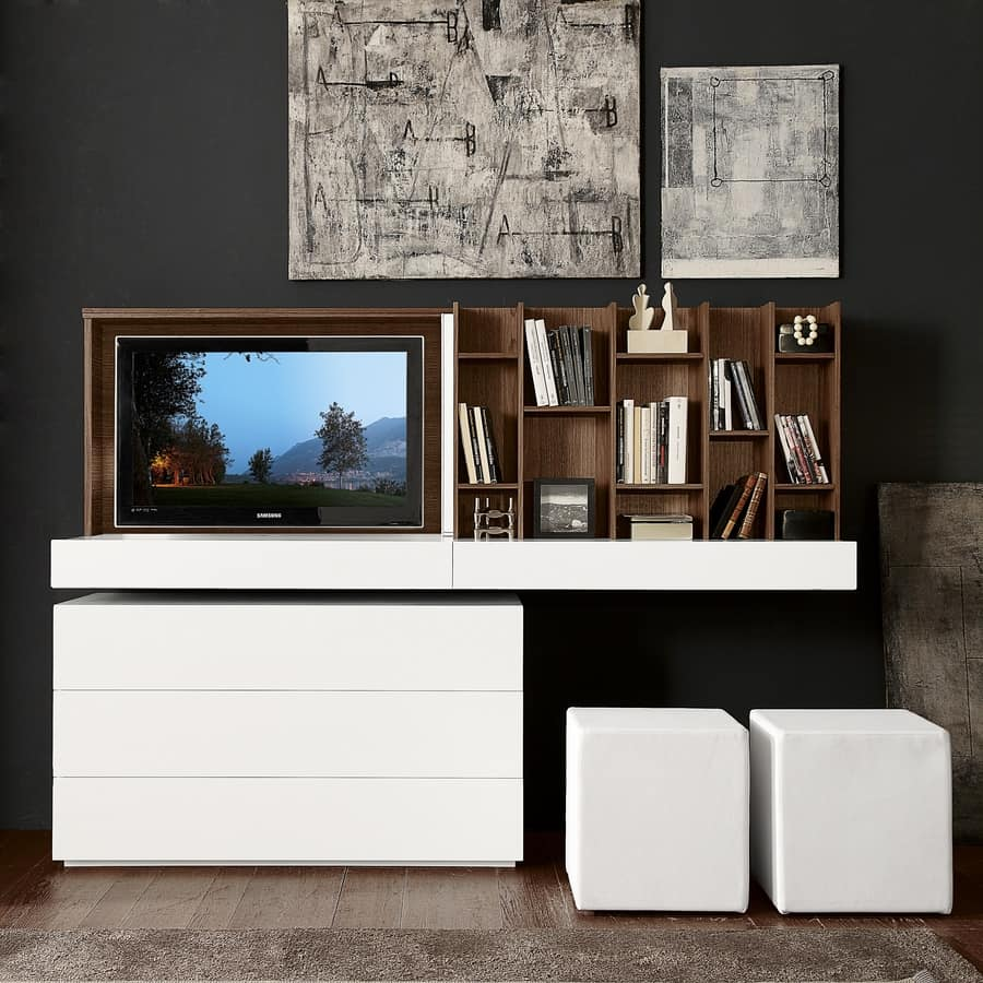 Tavolo Estraibile A Scomparsa.Tv Stand With Folding Door And Sliding Mirror Idfdesign