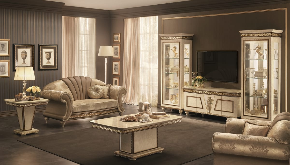 Fantasia tv set composition, Classic TV cabinet, with matching display cabinets